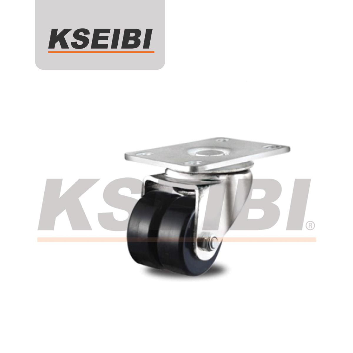 Threaded Stem KSEIBI Twin Wheels Caster for Furniture