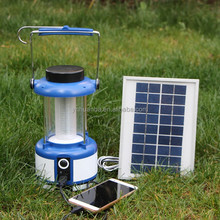 3W portable led camping light solar rechargeable lantern with USB port