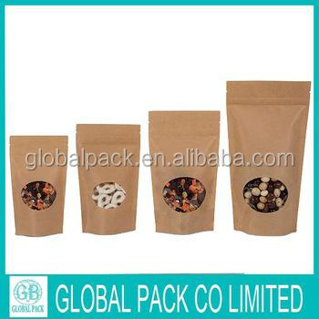 Kraft Stand up Zip Pouch Brown Kraft Paper Bags Dried Food Packing Bags Stand up pouch