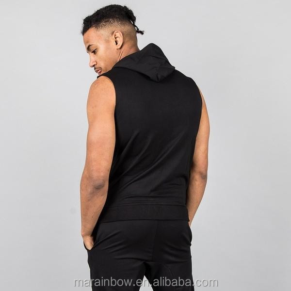 Blackout Mens Gym Sleeveless Hoodie OEM Muscle Bodybuilding Fitted Zip up Hoodie Wholesale Tracksuit Top gym wear