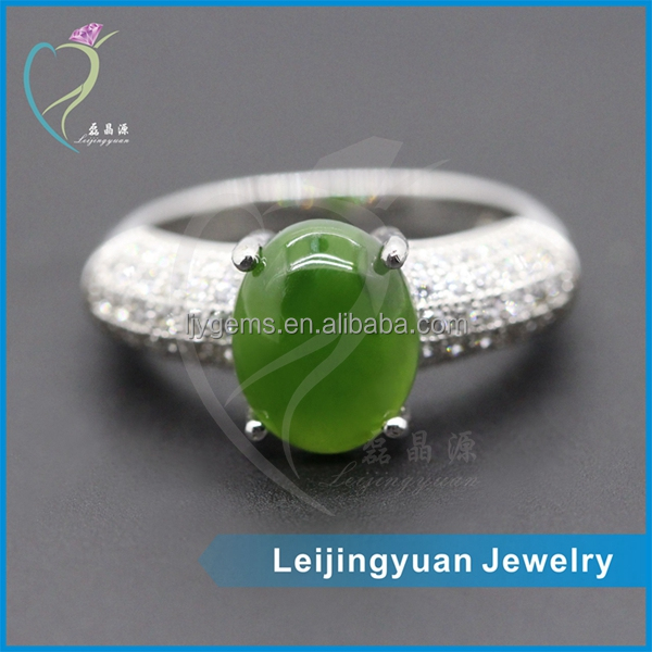China professional manufacturer elegant green glass jade gemstone ring silver s925 jewelry