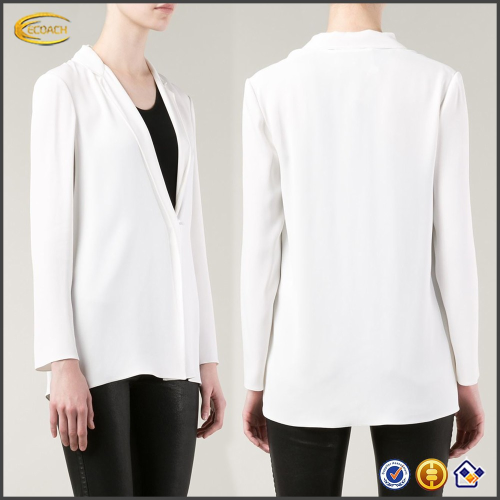 latest design white elegant V neck womens semi formal tops and blouses
