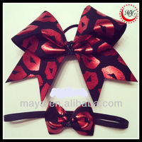 red foil lips print over black cheer bow and headband hair accessory set