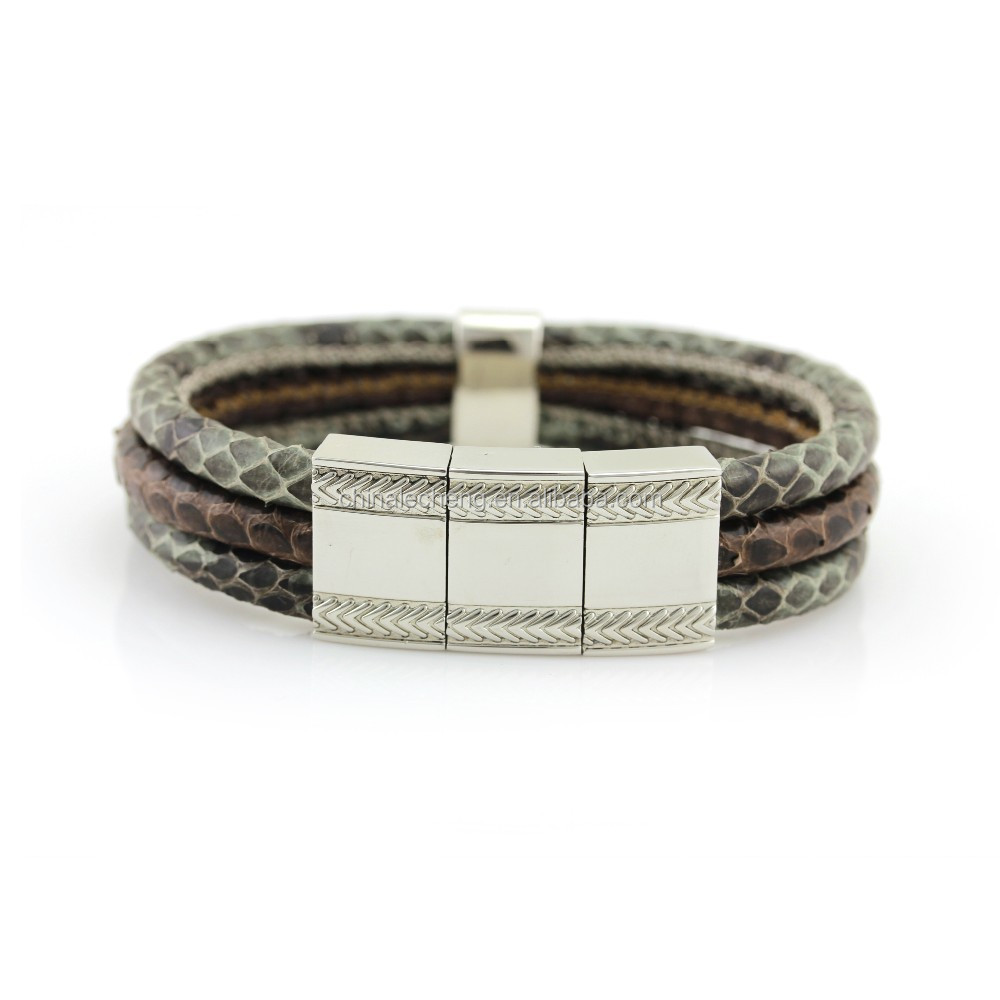 snakeskin cuff bangles,snakeskin leather bracelets,real leather wrap wristbands