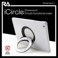 Top sale for iPad air 2 tablet fancy case metal multi function ring kick stand