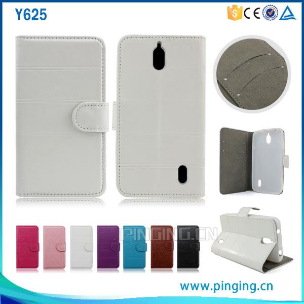 Wholesale cross grain pu leather flip case cover for huawei y625 with soft tpu and stand case