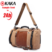 Hot Sale kaka travelling fashion outdoor mens sport custom travelling waterproof leather laptop bag canvas backpack