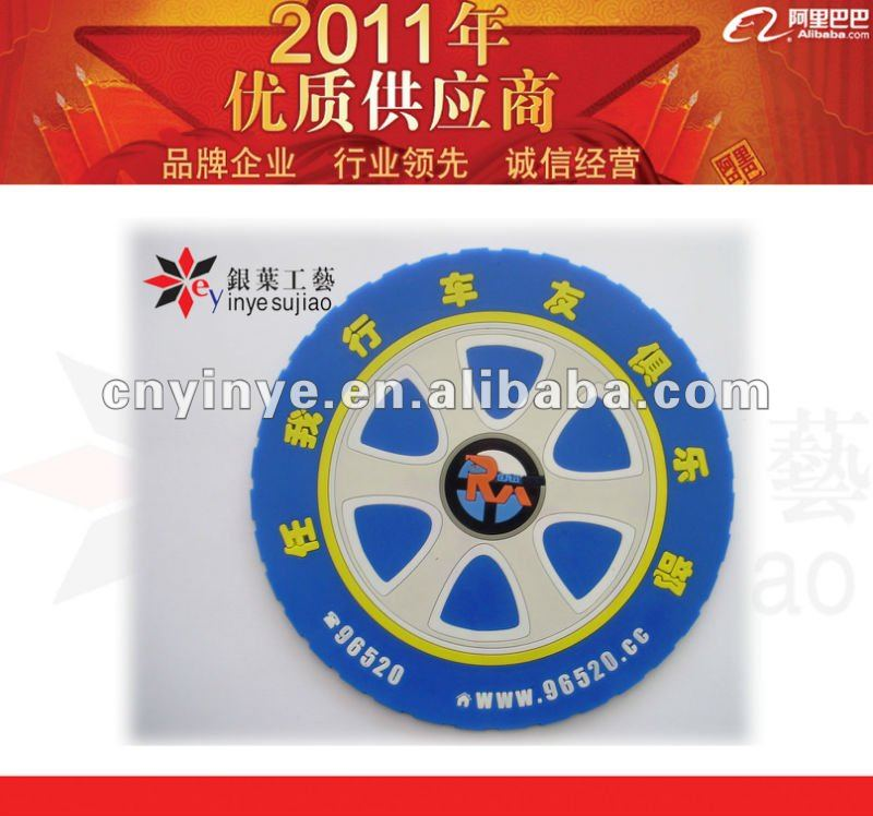wheel band design soft pvc coaster for promotion