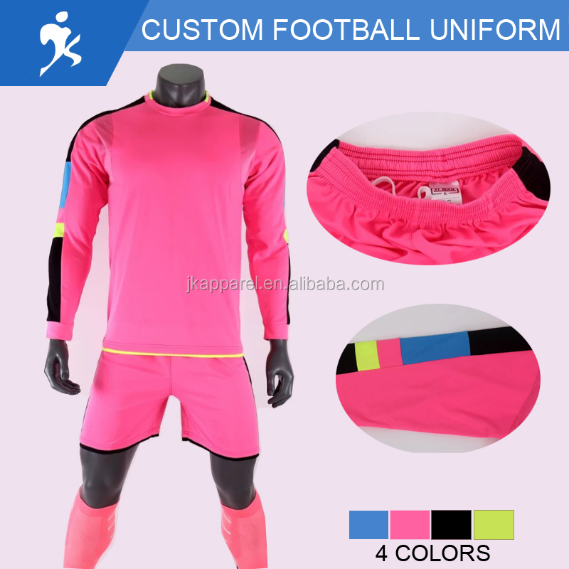 2017 customized football jersey ,latest design long sleeve 4 colors jersey football team sets
