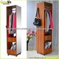 Wooden mirror chlothes rack wheels sliding wardrobes