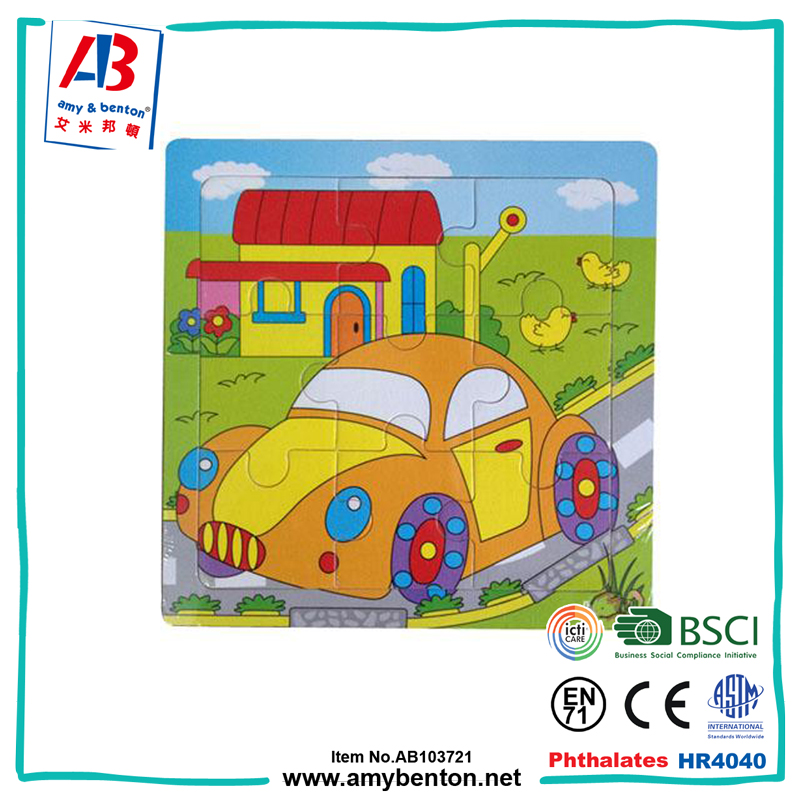 Educational creative toys vehicle designs wooden puzzle for children