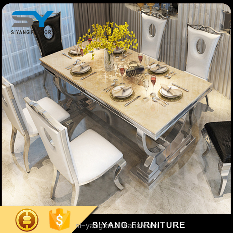 glass top stainless steel frame dining table sales CT002