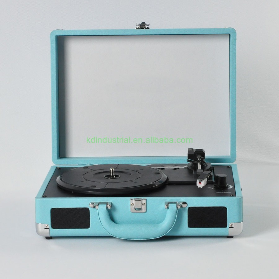Hottest Sales Vinyl Player Suitcase Turntable Recorder Player with Bluetooths 3 speed