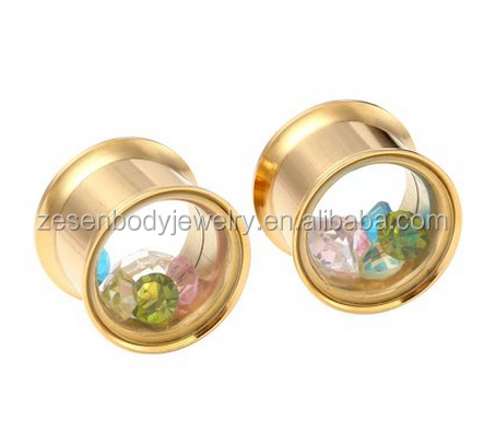 Stainless Steel Screw Tunnel Plug Clear Acrylic Cap Crystal Ear Stretcher body jewelry