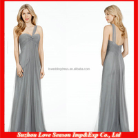 HB0163 New arrival elegant one shoulder western country style pretty cheap whole length gray bridesmaid dress