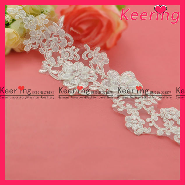 white embroidery lace motif flower applique for garment WLS-524