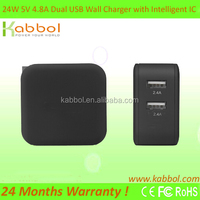 24W/4.8A Dual USB Wall Charger Adapter with Foldable Plug and Smart Charging Chip, for Apple iPad Air / Air 2, iPad Mini Retina