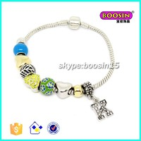 New wholesale custom made colorful alloy beads silver snack bracelet