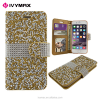 PU diamond wallet mobile phone case for apple iphone 7