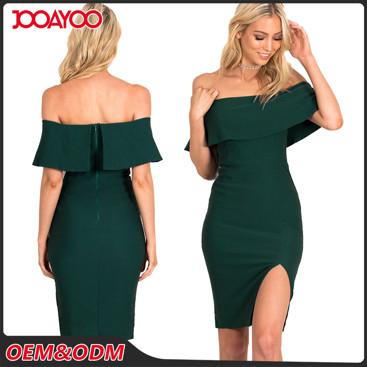 Fashion Design Custom Any Color Midi Women Dresses Off Shoulder Bodycon Lady Party Dress