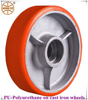 3 inch to 12 inch heavy duty cast iron core polyurethane/PU wheels