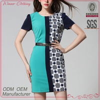 European and American Style printed fashion summer european ladies casual dress with short sleeve