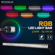 "Factory supplier 42"" Led Light Bar halo 42 inch 240W RGB LED Work Light Bar Driving Lamp Off Road SUV 4x4WD"