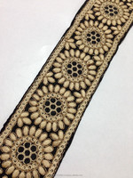 "tr390 Black floral braided 2.5"" inches wide thread work lace trim embroidered decoration sewing sari bridal border apparel"