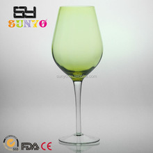 Chine factory unique Amazon hot sale Green color Wine glass with polyform box re-posted package