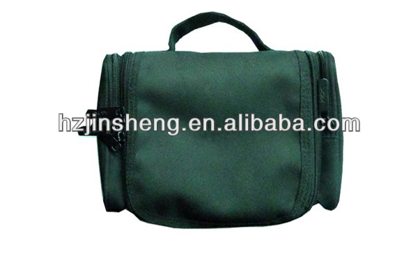 Popular durable green twill polyester cosmetic bag with hander