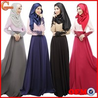Women Dress Muslim Lady Lace Grown Kaftan Long Sleeves Round Neck Maxi Dress