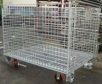 CN Warehouse Cheap Sale Steel Folding Wire Mesh Crate with Wheels