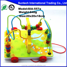 Colorful Baby Children Wooden Toy Mini Around Beads Wire Maze Educational Game/educational bead maze