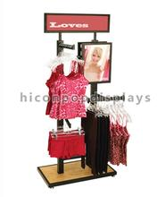 Fashion Retail Store Pop Metal Display Fixture For Underwear, Floor Hanging Dress Shirt Display
