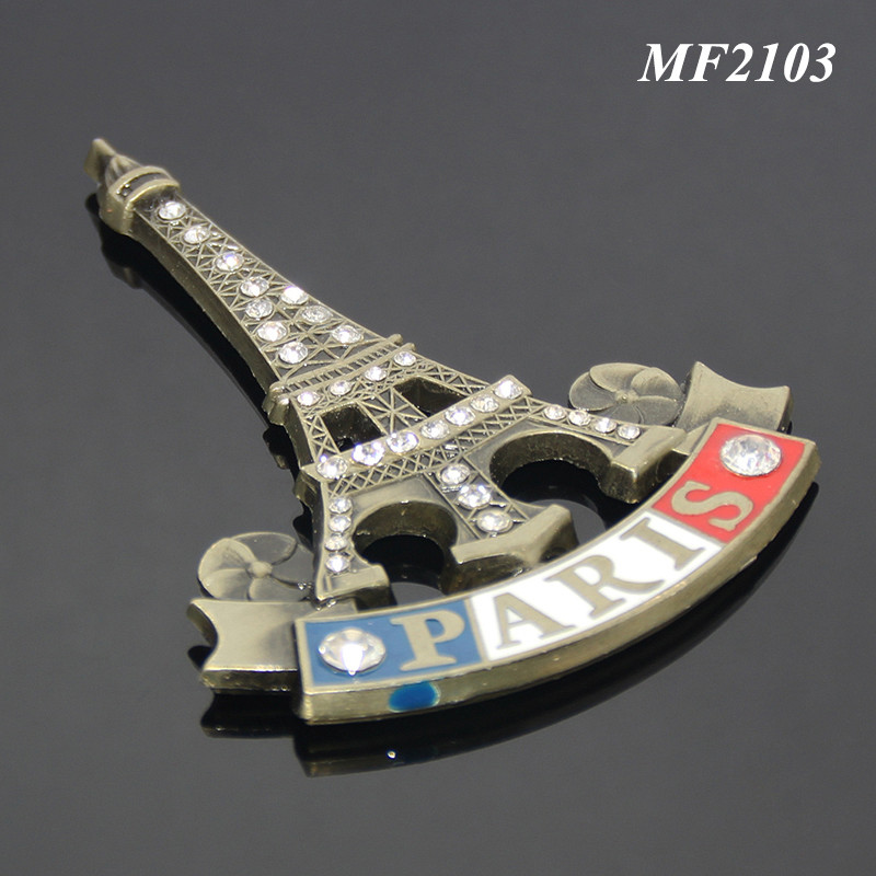 Home Decoration Enamel PAIRS Eiffel Tower Tourist Attractions Souvenir Bronze Color Alloy Promotional Metal Custom Magnet Fridge