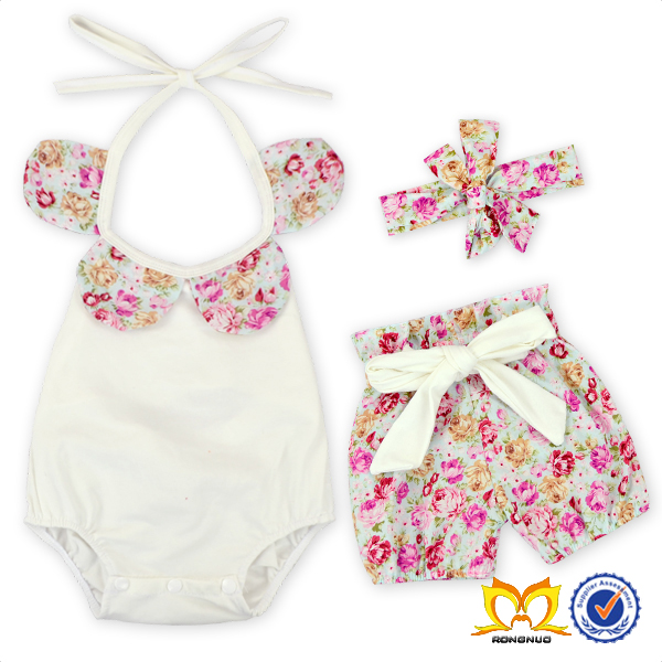 Flower Baby Girl Romper Short Headband Set Wholesale Children Clothing USA Childrens Boutique Clothing