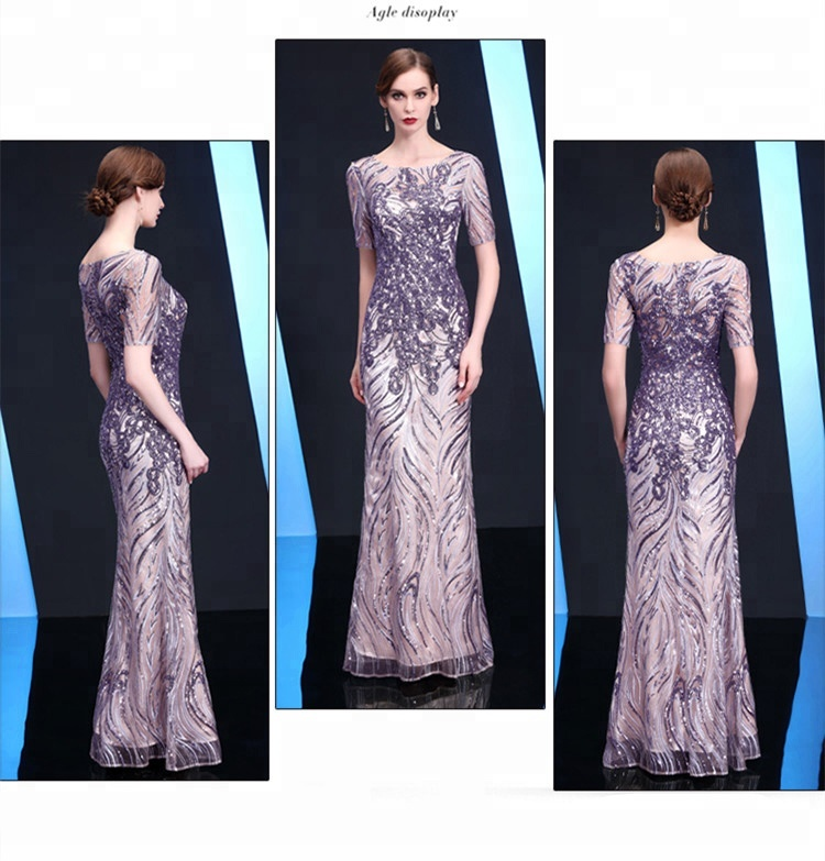 Elegant Appliques Champagne Crystal Evening Dresses 2018 Beaded Lace 3D Floral sequined Prom Dress A-line Women Dresses aslp037