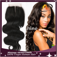 Swiss Lace Brazilian Hair 100% Human Hair Top Lace Closure Silk Base Three Part Body Wave Lace Closure