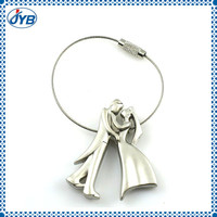 Bride and bridegroom steel wire rope couple love keychains for promotion