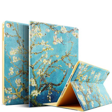 Color Printing Wholesale Stock New Auto Sleep Ultra Thin Leather Smart Stand Cover Case For 2017 New iPad