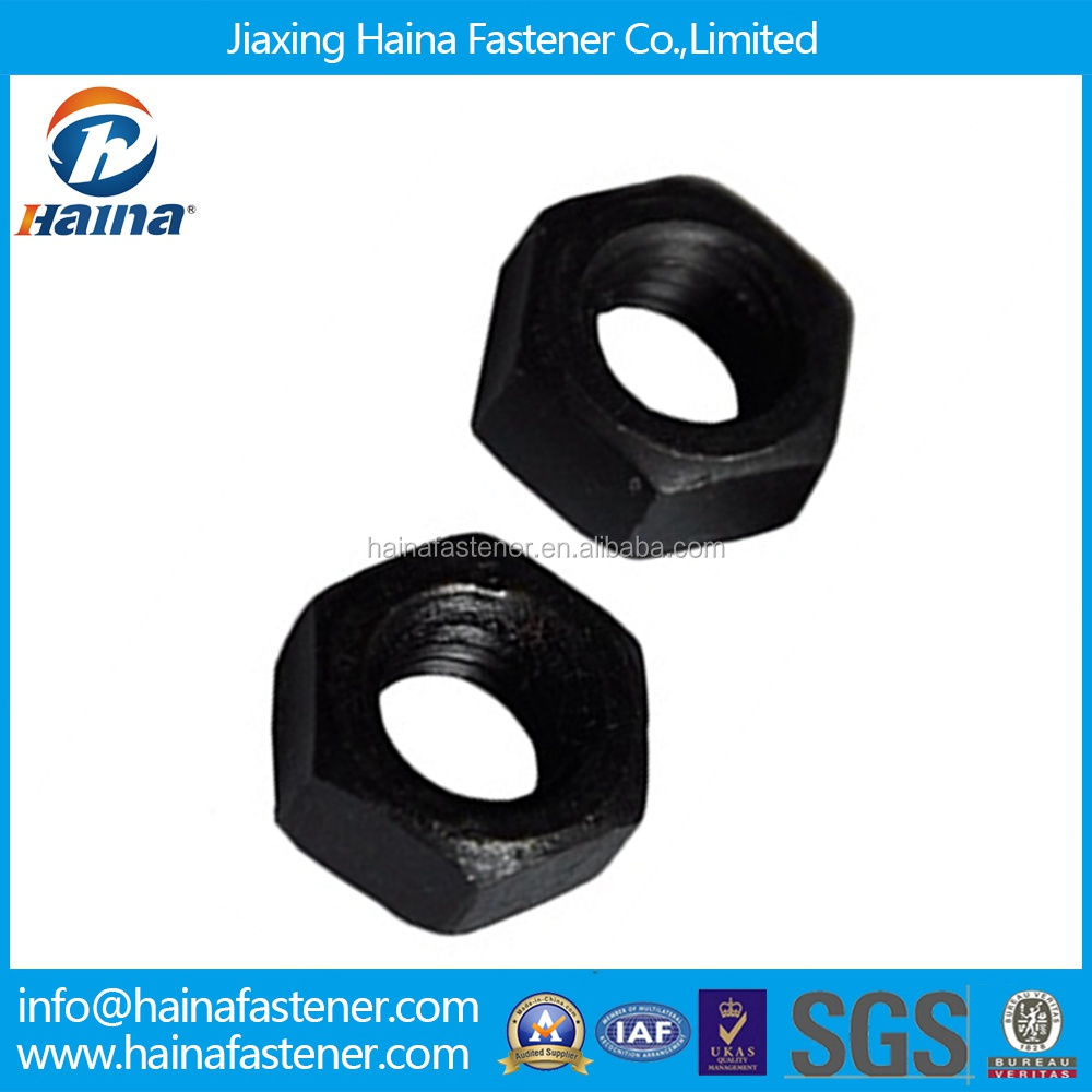 High quality DIN 934 carbon steel Black 10 Grade m14x1.25 hexagon nut