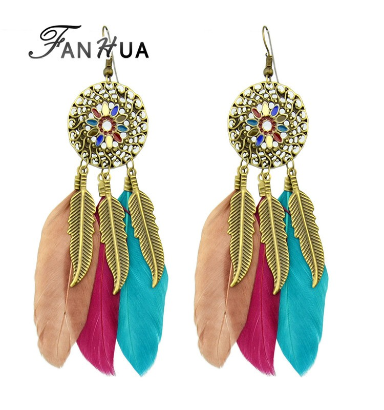 Ethnic Style Colorful Feather Long Chandelier <strong>Earrings</strong>