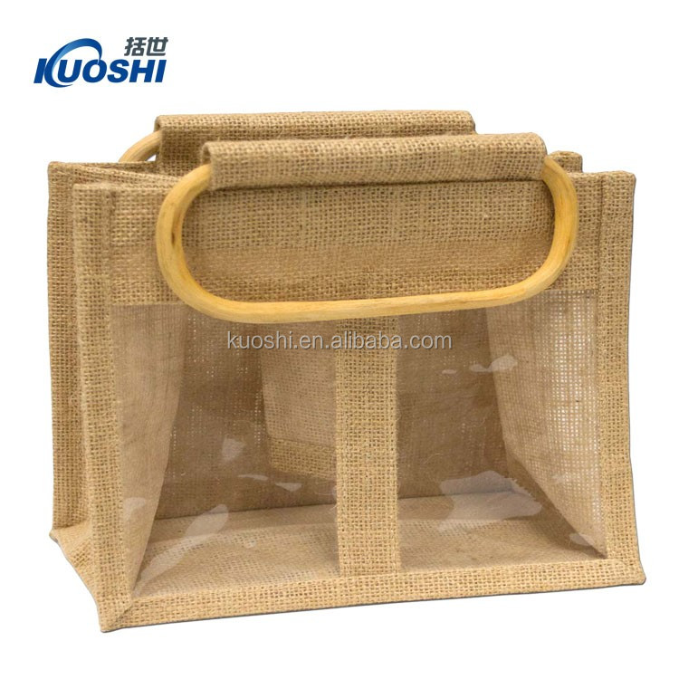 2017 cheap high quality cane handle jute/canvas promotional bag
