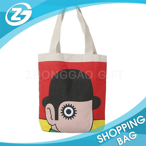 Custom Brand Name Logo Printed Book Storage Promotion Eco Reusable Women Children Natural Plain Cotton Bag with Handle