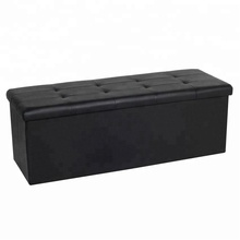 110cm large pvc foldable storage bench ottoman