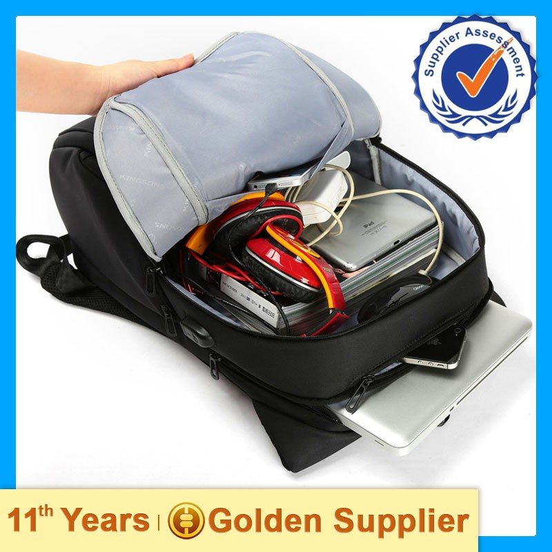 Outdoor hiking laptop backpack with chargeable battery,power bank,USB output