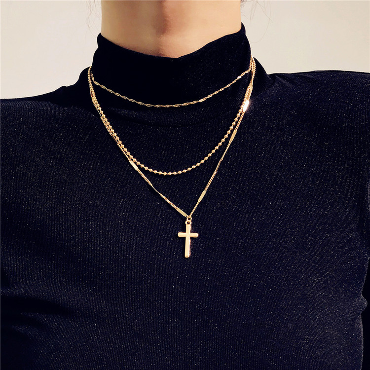 2019 New Trendy Wholesale Women Fashion Custom Necklaces Jewelry Elegant Long Cross Multi Layered Metal Gold Necklace