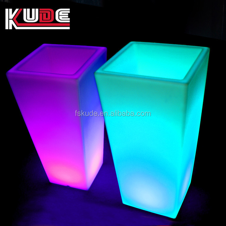 Night club used bar furniture RGB light up illuminated bar table with ice bucket
