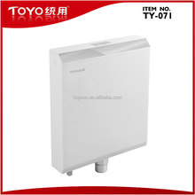 Wall mounted plastic toilet flush tank with toilet tank flush mechanism