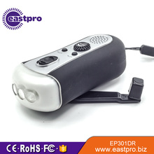 EASTPRO EP301DR FM radio 3 led dynamo hand crank flashlight radio